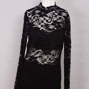 B. Darlin Black Lace Long-Sleeve Dress Size 13/14